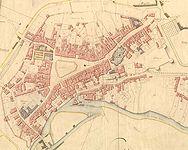 La ville de Guingamp d′après le cadastre de 1822, section C, 1ère feuille (source : Archives départementales des Côtes-d'Armor