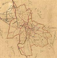 La commune de Guingamp d′après le tableau d′assemblage des plans cadastraux parcellaires de 1822 (source : Archives départementales des Côtes-d'Armor)