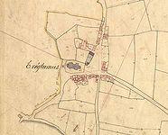 Le bourg de Tréglamus d′après le cadastre parcellaire de 1838, section A , 2ème feuille (source : Archives départementales des Côtes-d'Armor)