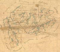 La commune de Tréglamus d′après le tableau d′assemblage des plans cadastraux parcellaires de 1838 (source : Archives départementales des Côtes-d'Armor)
